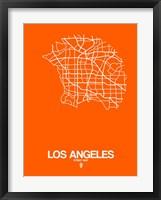 Framed Los Angeles Street Map Orange