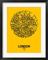 Framed London Street Map Yellow