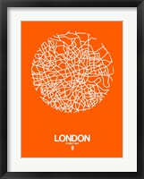 Framed London Street Map Orange