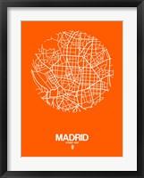 Framed Madrid Street Map Orange
