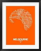 Framed Melbourne Street Map Orange