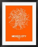 Framed Mexico City Street Map Orange