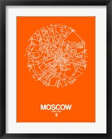 Framed Moscow Street Map Orange