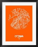 Framed Ottawa Street Map Orange