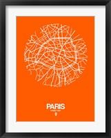 Framed Paris Street Map Orange