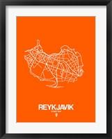 Framed Reykjavik Street Map Orange