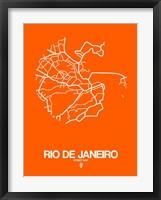 Framed Rio de Janeiro Street Map Orange