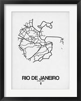 Framed Rio de Janeiro Street Map White