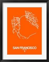 Framed San Francisco Street Map Orange