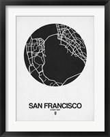 Framed San Francisco Street Map Black on White