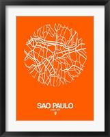Framed Sao Paulo Street Map Orange