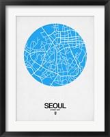 Framed Seoul Street Map Blue