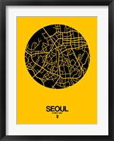 Framed Seoul Street Map Yellow