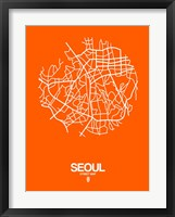 Framed Seoul Street Map Orange