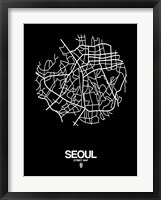 Framed Seoul Street Map Black