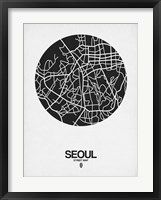 Framed Seoul Street Map Black on White
