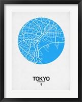 Framed Tokyo Street Map Blue