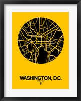 Framed Washington DC  Street Map Yellow