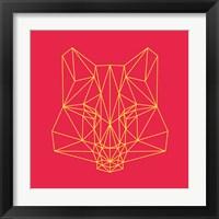 Framed Fox on Red