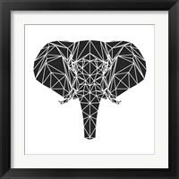 Framed Black Elephant Polygon