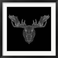 Framed Moose Head Black Mesh