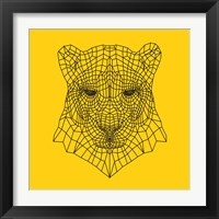 Framed Panther Head Yellow Mesh