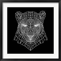 Framed Panther Head Black Mesh