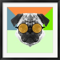 Framed Party Pug in Yellow Glasses