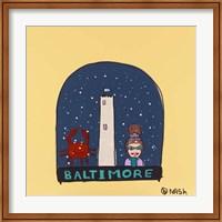 Framed Baltimore Snow Globe