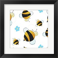 Framed Bees and Blue Flowers