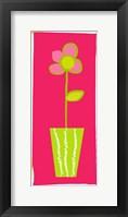 Framed Pink Flower in Green Pot