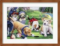 Framed Golfing Puppies