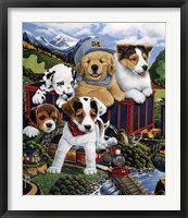 Framed Choo Choo Puppies