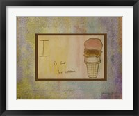 I is For Ice Cream Framed Print