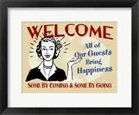 Framed Welcome Guests Bring Happiness