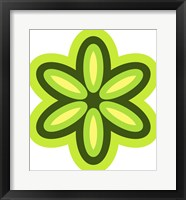 Framed Mod Flowers Cut out Green