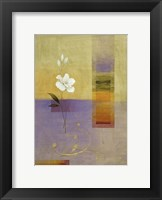 White Flower on Lilac and Yellow 1 Framed Print