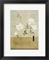 Framed White Flowers on Taupe 1