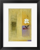 White Flower on Lilac and Yellow 2 Framed Print