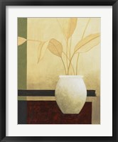 Framed Leaves and White Vase