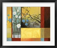 Framed Blue On Yellow & White On Blue With Burgundy Strip