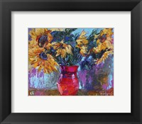 Framed Sunflowers In Red Vase