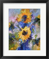 Framed Sunflowers In Blue Vase
