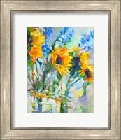 Framed Sunflowers In Glass Bottles