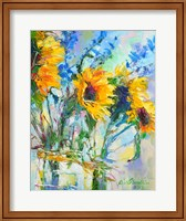 Framed Sunflowers In Glass Bottles