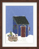 Framed Blue Outhouse