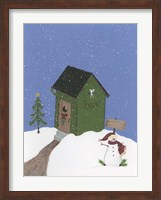 Framed Dark Green Outhouse