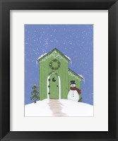 Framed Light Green Outhouse