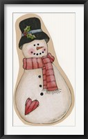 Framed Red Scarf Snowman With Black Hat