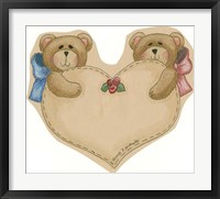 Framed Twin Bears With Heart